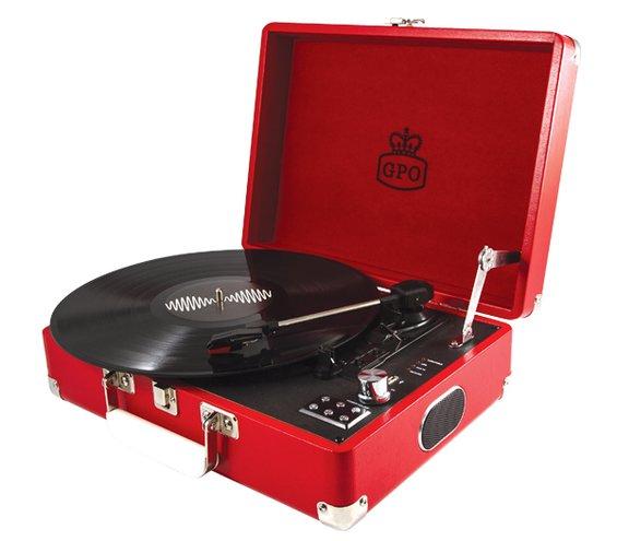 Reminiscencna pomocka gramofon cerveny